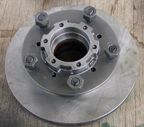 Front view of rotor and hub for Series Land Rover