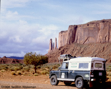 The Green Rover in Monument valley