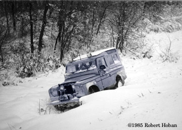 Land Rover down a hill